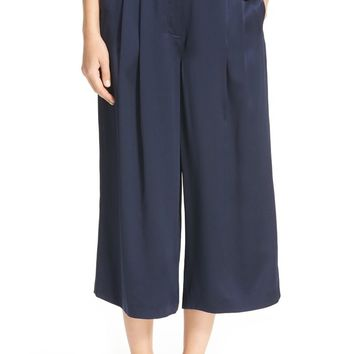 Tibi Pleated Crop Silk Pants | Nordstrom