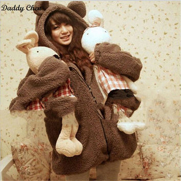 Women Winter Furry Warm Hooded Hoodies Bear Bunny with Ears and Tail Female Warm Cartoon Thicken cute Coat Harajuku Sweatshirt
