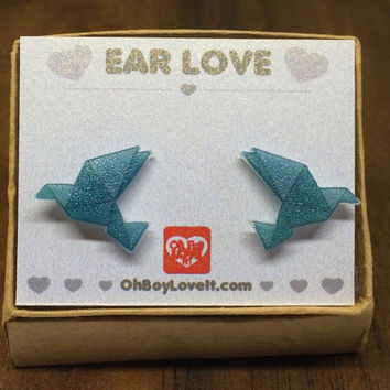 Origami Crane Earrings | Turquoise Origami Crane | BOXED | Handmade | Hypoallergenic | Shrink Plastic non metal jewelry | Made in Canada