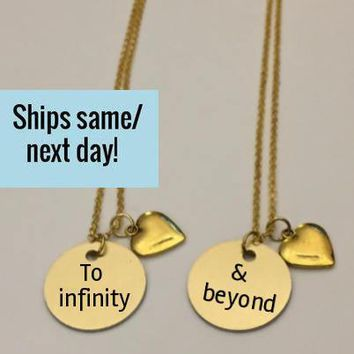 Best Friend Necklaces, Best Friend Gift, Best Friends, To Infinity & Beyond, Best Friend Quote,Necklace Set, Christmas Gift,Stocking Stuffer