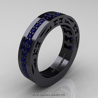 Womens Modern Vintage 14K Black Gold Blue Sapphire Wedding Band R474F-14KBGBS