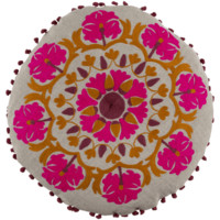 Boho Fuchsia Pink Round Embroidered Pillow
