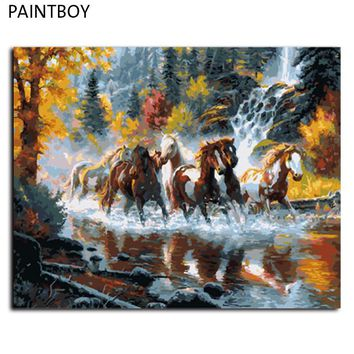 DIY Painting By Numbers Frameless DIY Digital Canvas Oil Paintng Of Horse Home Decoration For Living Room GX9138 40*50cm