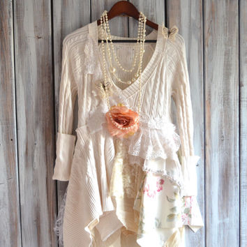 Romantic country chic sweater tunic dress, Shabby chic dresses, Boho clothing, Winter white lagenlook shirt Fall sweater True rebel clothing