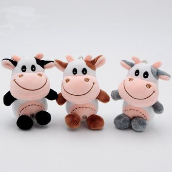 10cm Cattle Plush Toys Cute Kawaii Bag Backpack Pendant Keychain Stuffed Animals Kids Toys for Children Birthday Gift Doll