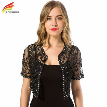 Women Basic Coat Summer Style Women Perspective Shawl Fashion Hollow Out Lace Boleros Short Sleeve Coats Jackets Female