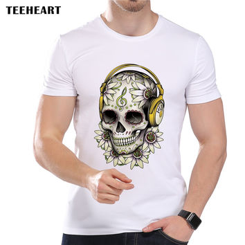 Men's Music Skull Flower Fashion T-Shirt Short Sleeve O-Neck Modal Mexican Sugar Skull Art Top Tees