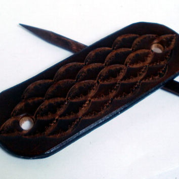Leather hair barrette, size M, hair stick, hair pin, hair slide, antiqued brown, tooled