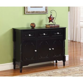 Solid Wood Black Finish Sideboard Console Table