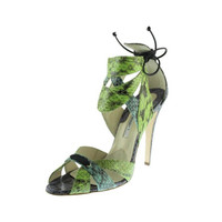 Brian Atwood Womens Snake Skin Ankle Wrap Heels