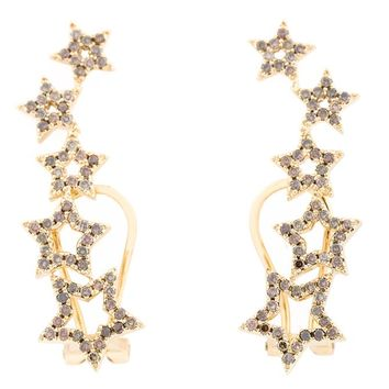 Yellow Gold & Diamond Star Earrings - ROSA DE LA CRUZ