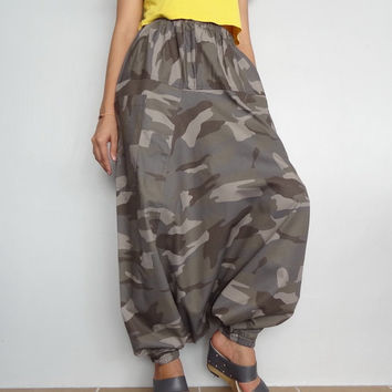 Soft Army Camo Print, Cotton Harem Drop Crotch Pant,Unisex Baggy Trouser, (pants-C4).