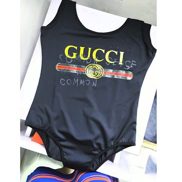 GUCCI SWIMMER SWIM TAN TOP VEST SHIRT  V NECK WOMEN LETTERS BOTTOMING CLOTHES BIKINI BLACK
