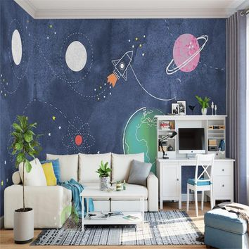 3D Custom Photo Modern Mural Wallpaper Roll For Living room Bedroom Kids' Room TV Background Cartoon Universe Outerspace Decor