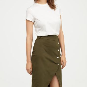 Asymmetric Skirt - Khaki green - Ladies | H&M US