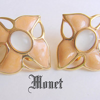 Vintage Modernist Monet Mauve Enamel Faux Opal Clip On Earrings * Designer Signed * 1980s * Jewelry * Jewellery