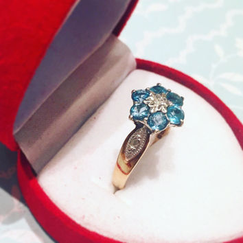Vintage 9 Carat Yellow Gold Blue Topaz Flower Diamond Ring size L engagement daisy girlfriend for her gift wedding