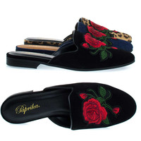 Temper Black Lami By Paprika, Flat Backless Loafer / Mule, Rose Floral Embroidered Patch,  Slipper