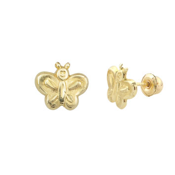 10k Yellow Gold Tiny Happy Butterfly Stud Earrings with Screwbacks