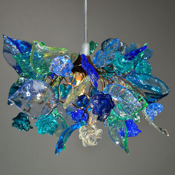 sea color  flowers and leaves, hanging chandelier