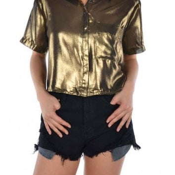 Short Sleeve Cropped Shiny Button Down Shirt
