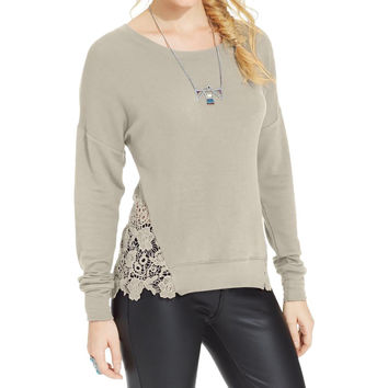 American Rag Womens Juniors French Terry Crochet Inset Sweatshirt