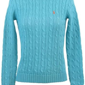 Ralph Lauren Womens Crewneck Cable Knit Sweater - S - Aqua