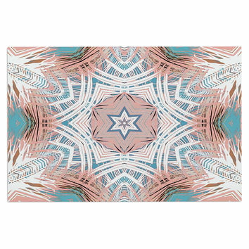 "Alison Coxon ""Tribe Coral And Teal "" Blue White Decorative Door Mat"