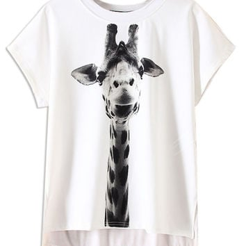 White Giraffe Pattern Short Sleeve T-shirt
