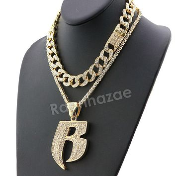 Hip Hop Iced Out Quavo RUFF RYDERS Miami Cuban Choker Tennis Chain Necklace L17