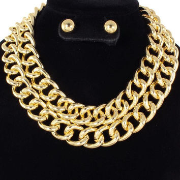 "19"" metal .80"" link layered choker bib collar necklace .30"" earrings"