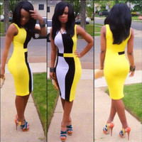 Yellow Sleeveless Midi Bodycon Dress