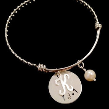 Half Marathon 13.1 Stainless Steel Adjustable Bangle Bracelet with Sterling Silver Disc, Script Initial Charm and Freshwater Pearl.