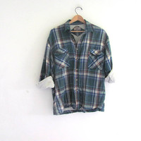 Vintage Plaid Flannel Shirt Jacket / Insulated Grunge Shirt / Button up shirt