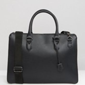 ASOS Structured Briefcase In Faux Leather at asos.com