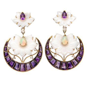 India Amethyst Floral Earrings
