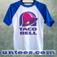 Taco Bell Logo Basic Baseball Tee Blue Short Sleeve Cotton Raglan T-shirt