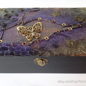 Made to order example of Beautiful steampunk inspired one of a kind hand made polymer clay jewelry box / trinket box / treasure box