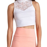 MOCK NECK LACE YOKE CROP TOP