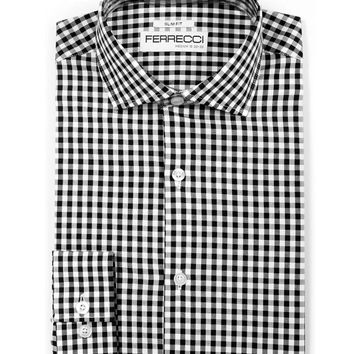 The Black Gingham Slim Fit Cotton Dress Shirt