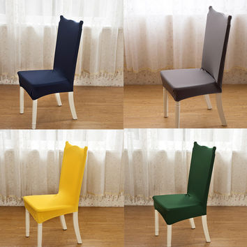 1 Piece 17 Solid Colors Polyester Spandex Dining Chair Covers For Wedding Party Chair Cover Brown Dining Chair Seat Covers