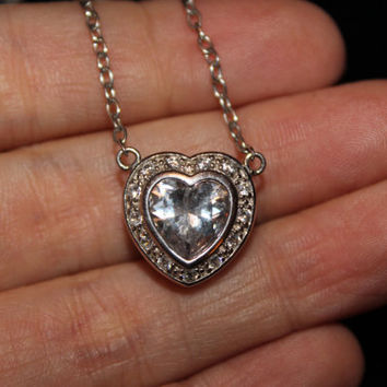 Vintage Sterling Silver Necklace With Heart Shaped Cubic Zirconia Pendant