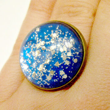 Blue and Silver Glitter Ring Glitter Jewelry Space Jewelry Space Ring Star Jewelry Star Ring Planet Jewelry Planet Ring Glitter Galaxy Ring