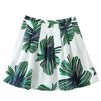 Green Tropical Foliage Print Pleated Mini Skirt