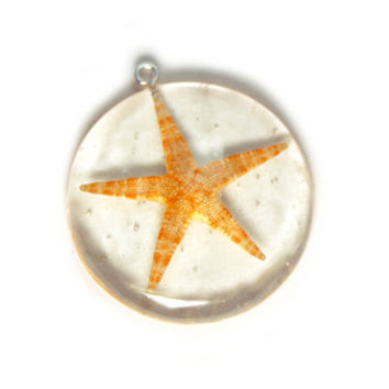 Beach Jewelry - Starfish Jewelry - Necklace Charm - Resin Pendant - Summer Jewelry - Handmade Beach Jewelry - Real Sea Shell Jewelry -