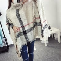 Knit Sweater Winter Scarf Stylish Plaid Jacket [189416701978]