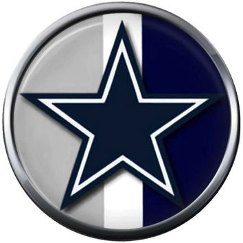 NFL Grey Blue White Logo Dallas Cowboys Diamond Plate Texas Football Fan Team Spirit 18MM - 20MM Snap Charm