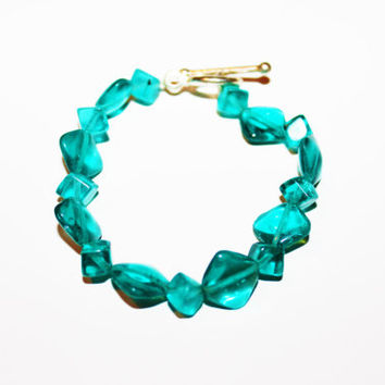 Blue Beaded Crystal Bracelet with Silver Clasp