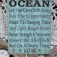 New Advice From The Ocean By Carova Beach Crafts in Sage/Teal Green, Beach Decor, Coastal, Nautical, Wood Sign, Hand Painted