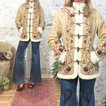 Vintage Embroidered AFGHAN Suede Coat || Boho Hippie Jacket || Size Small To Medium || US 4 To 6